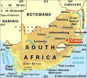 Zuid Afrike Dundee Melusi Danielske van de Vlag Eglesia kerk van nu